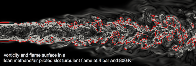 DNS of turbulent premixed flames